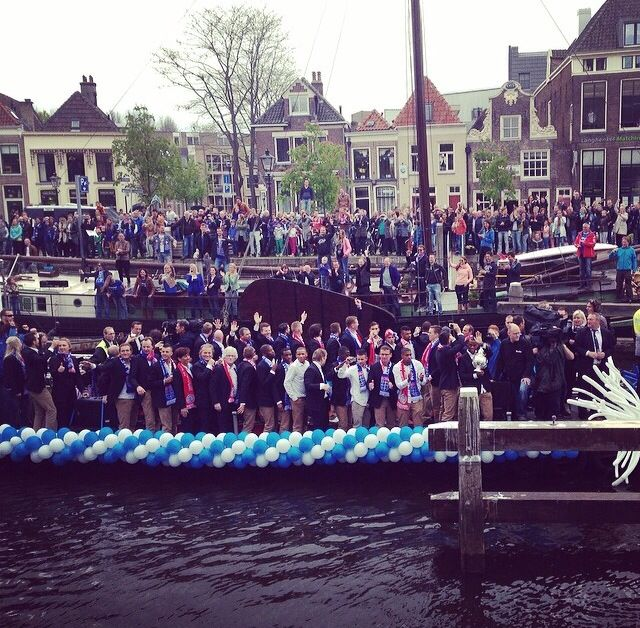 Boat trip tribute PEC Zwolle KNVB Champion Cup, Thorbeckegracht, Zwolle