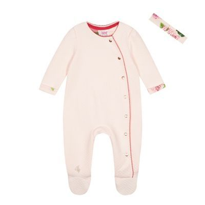Baker by Ted Baker Baby girls' pink quilted sleepsuit and headband-   Debenhams