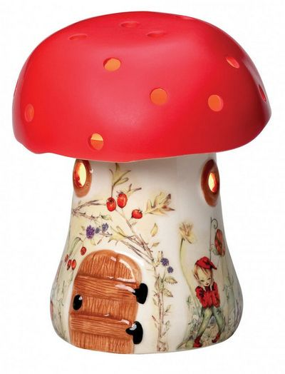 Bramble Toadstool Elf Lamp - Red Bramble Toadstool Lamp Red by White Rabbit England. This adorable toadstool lamp gives off a reassuring glow in the dark so little ones will love it. Made from ceramic with beautiful hand-painted illustrations