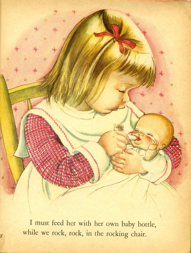 Illustration from My Dolly and Me by Eloise Wilkin. I had a baby doll like this one in the book. too.