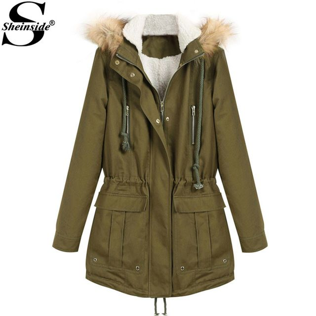 Sheinside Fashion Brand 2016 Winter Thick Heavy Women Warm Sale Faux Fur Hooded Long Sleeve Zipper Drawstring Long Jacket Coat Price on the app: US $39.60 US $40.50 /piece click link to buy http://goo.gl/J5cLYE