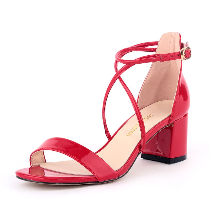 LOSLANDIFEN Fashion Ankle Strap Sweet Girl Sandals Patent Leather Elegant Lady High Heel Shoes Simple Thick. Click visit to buy #WomenMiddleHeels