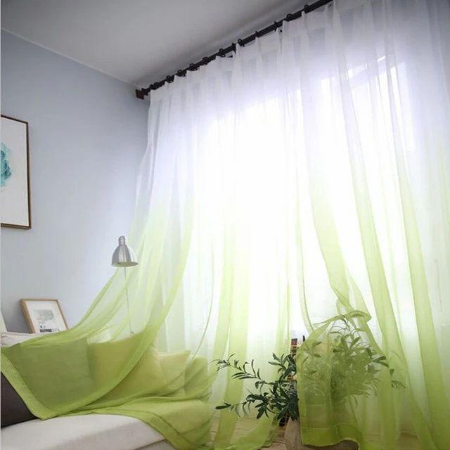 rideau voilage blanc et vert anis