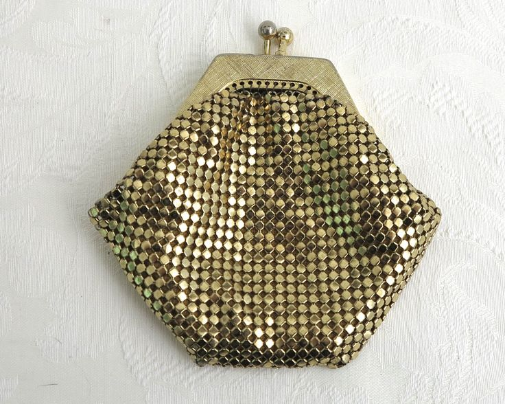 Vintage gold mesh coin purse with unusually shaped cross hatched frame, Sterling brand, made in Australia, kiss lock, circa 1970s by CardCurios on Etsy