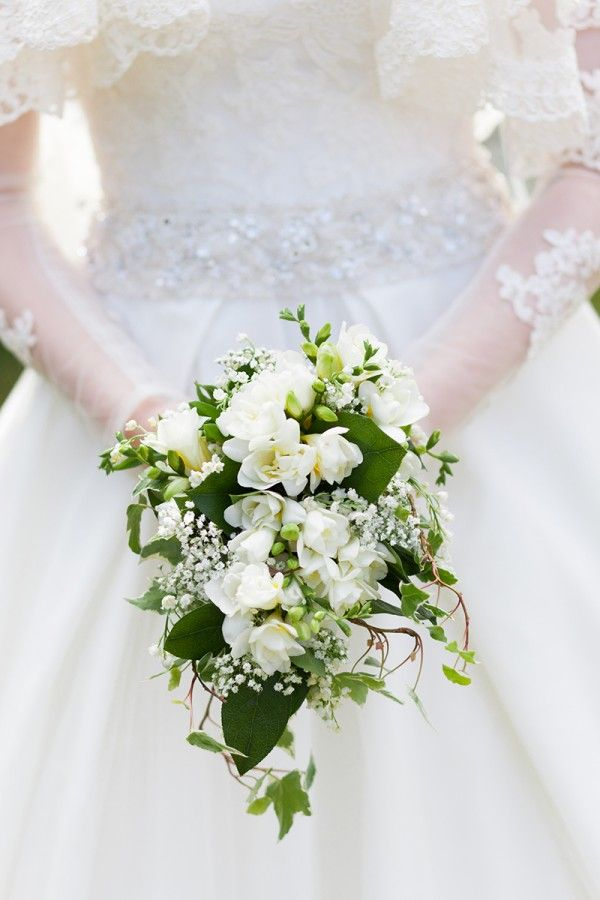 white wedding bouquet traditional vintage cascading lily of the valley http://www.victoriaphippsphotography.co.uk/