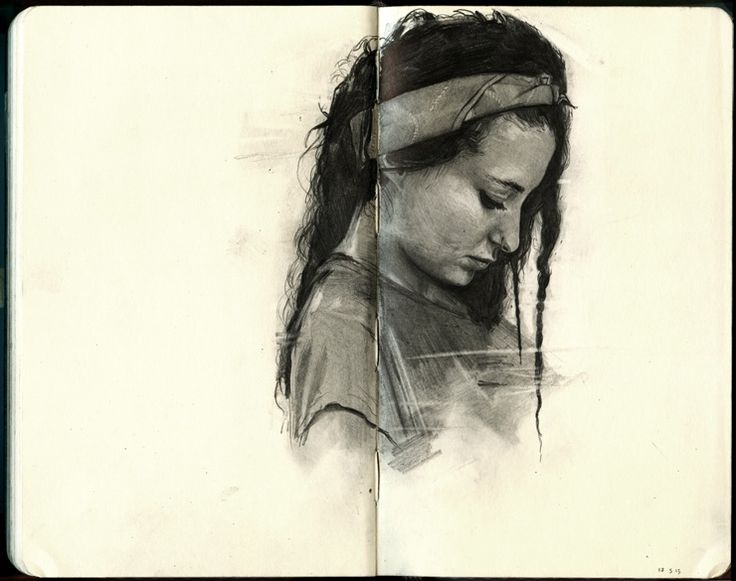 Sketchbook inspiration: graphite drawings of friends on a Moleskine by Thomas Cian