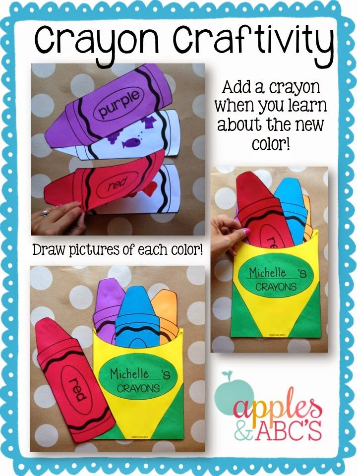 Crayon Box Craft....add a crayon to the pocket as you teach about each new color.