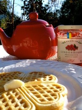 Vaffelhjerter are Scandinavian heart shaped waffles made with a special waffle iron...plan on using my plan ol' waffle iron, though!