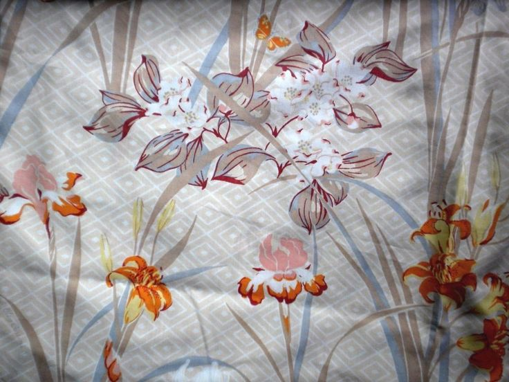 vintage full size flat sheet oleg cassini floral neutral fabric iris butterfly vintage