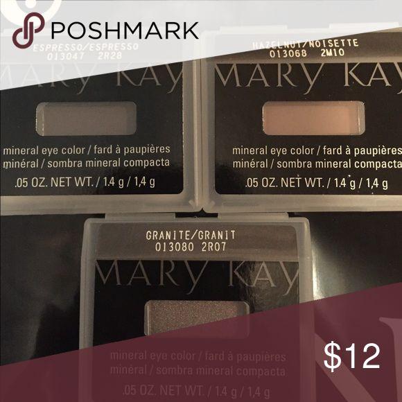 Set of 3 mark Kay eye shadows Espresso, hazelnut and granite Mary Kay Makeup Eyeshadow