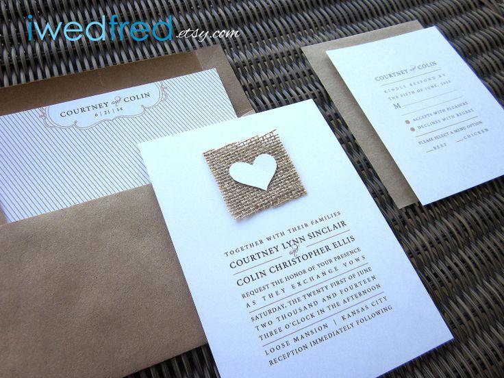 SAMPLE Simply Love - Real Burlap Wedding Invitation Suite. $6.50, via Etsy.