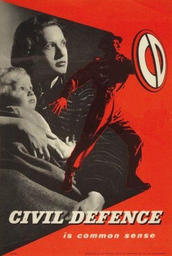 CoI vintage civil defence poster post war / artwork style - nice