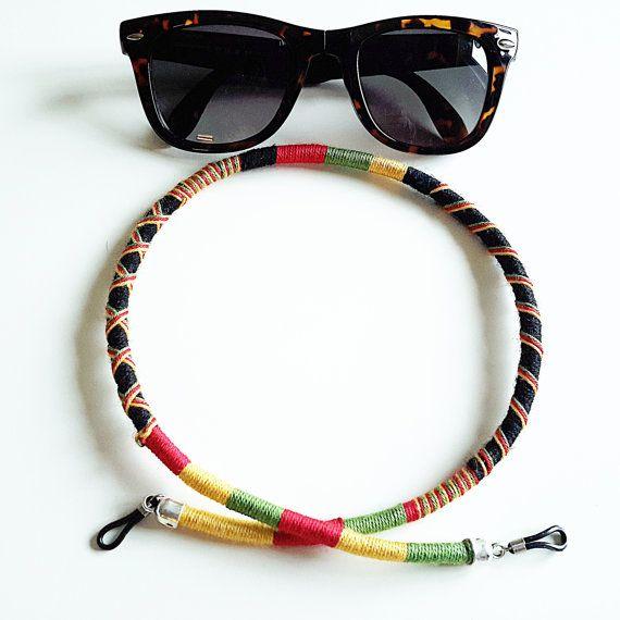 Hippie Jewelry Glasses Chain Rasta Colors Eyeglass by Wrapsodic