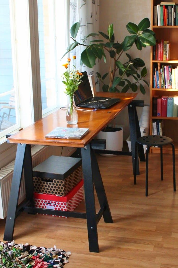 My working space. Table: old door and Ikea trestles.  http://omankatonalla.blogspot.com