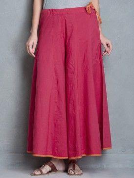 Dark Pink-Orange Tie-Up Waist Cotton Palazzos