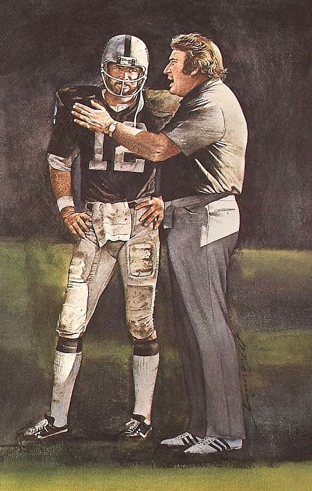 """The Two-Minute Warning"" — Ken Stabler and John Madden by Merv Corning"