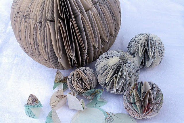 Paper ball ornaments - tutorial by Rhymes With Magic: Ornament Tutorial, Book Art, Tutorials, Papercraft, Book Folding, Ball Ornaments, Paper Balls, Craft Ideas, Paper Crafts
