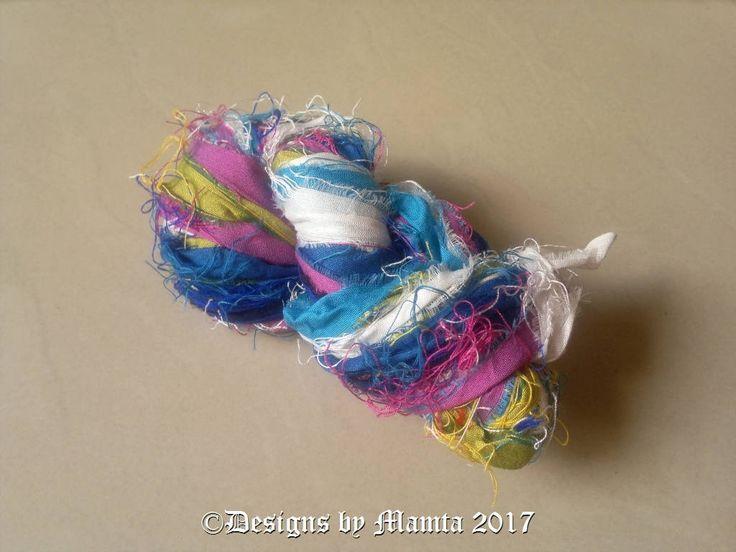 Blue Rose Inspired Sari Silk Ribbon Yarn, Variegated Sari Ribbon Yarn, Recycled Sari Silk Yarn, Colorful Art Yarn, Multicolored Ribbon Yarn by Mamta on Etsy