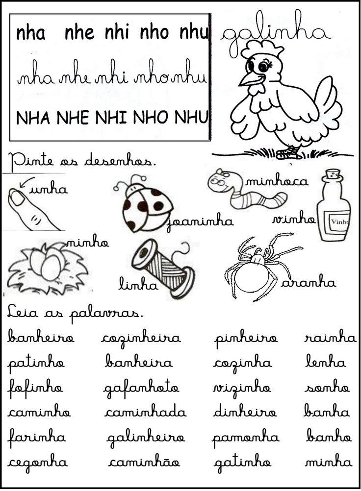 Mundo infantil 2º ano: Lista de palavras com ch, nh e lh para pasta de leitura
