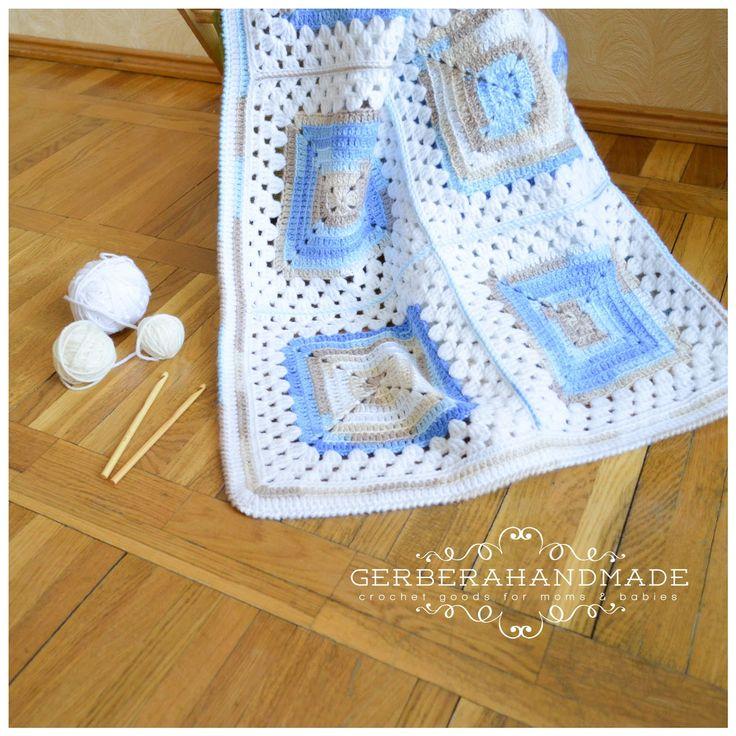 Слингобусы и детские вязаные пледы от GerberaHandmade: Детский вязаный плед для мальчугана:-)