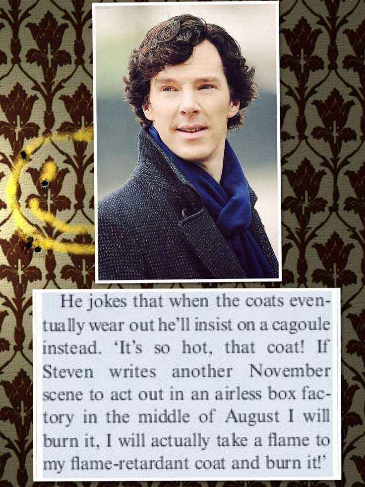 Ben discussing her Sherlock coat