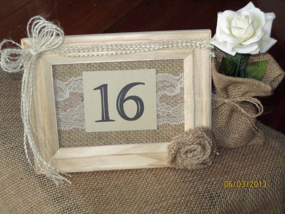 Country / Rustic / Outdoor  Wedding Table Number Burlap & Lace on Etsy, $6.99