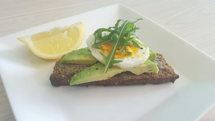 Gluten, sugar, dairy free bread + Egg + Avocado + Rocket + Lemon
