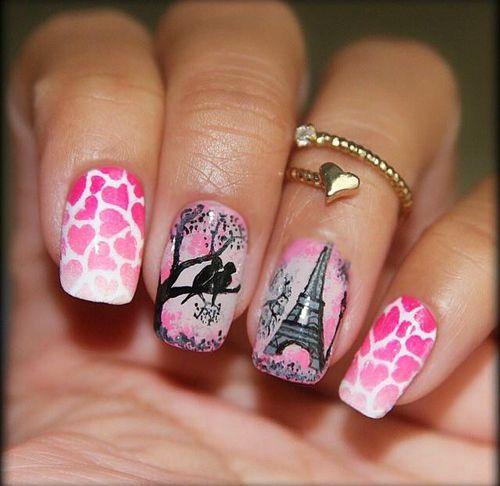 Estilo de uñas parisino en color rosa