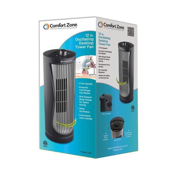 Comfort zone cz112 oscillating 12 inch desktop tower fan