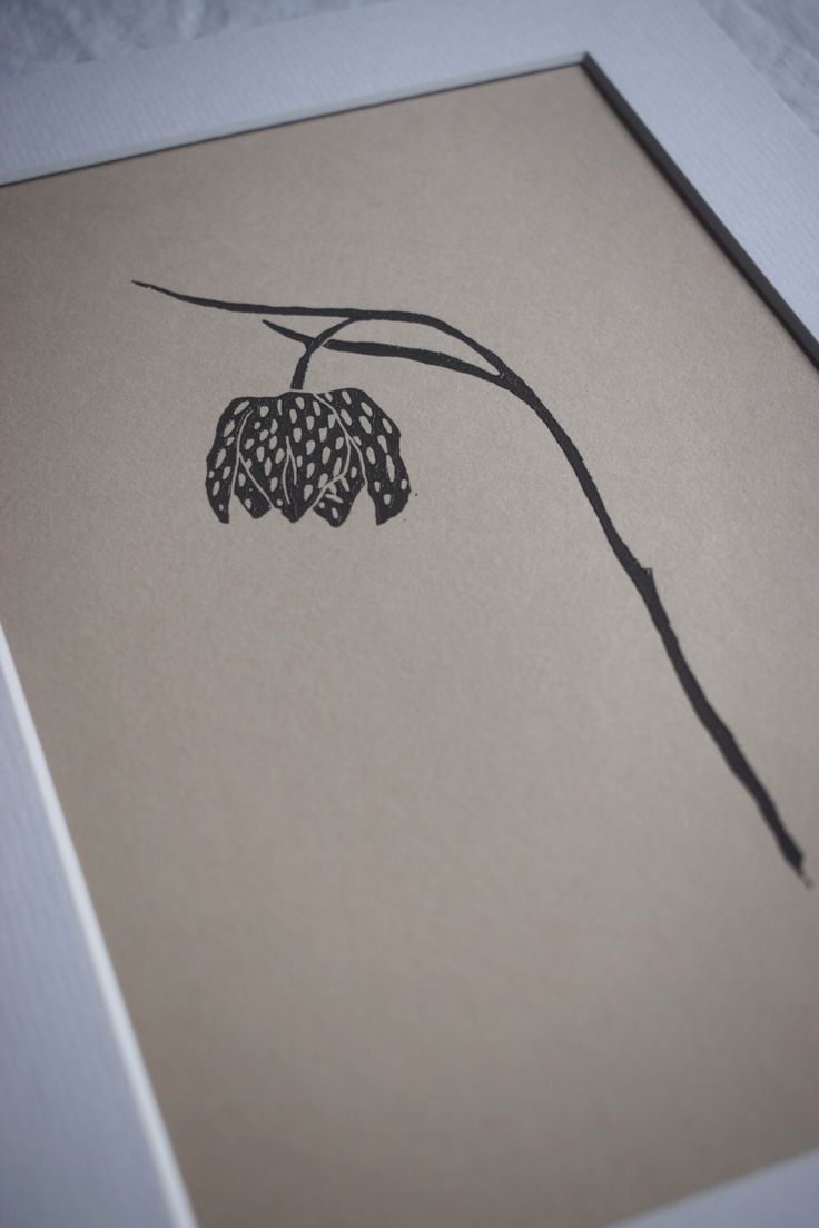Lino print: Fritillary by FrondandFeather on Etsy https://www.etsy.com/au/listing/499941332/lino-print-fritillary