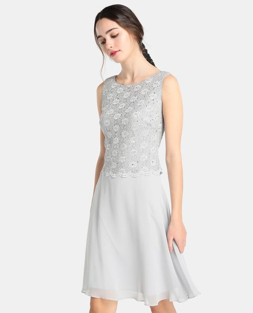 4df712e515d Vestido corto de mujer Fiesta El Corte Inglés con cuerpo de encaje