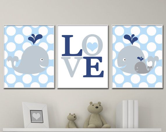 Baby Boy Nursery Art, Love and Whale Nursery Art Print Set, Suits Blue and Gray Nursery Decor & Bedroom Decor- P302,303,304  This listing is for 3 art prints only - frame not included.  These prints are professionally printed on high quality heavyweight matte paper with archival inks. Please be aware that colour variations may occur due to the differences in computer monitors.  IF YOU WOULD LIKE TO CUSTOMIZE YOUR PRINTS: When checking out, please leave a message in the  Note to Seller…