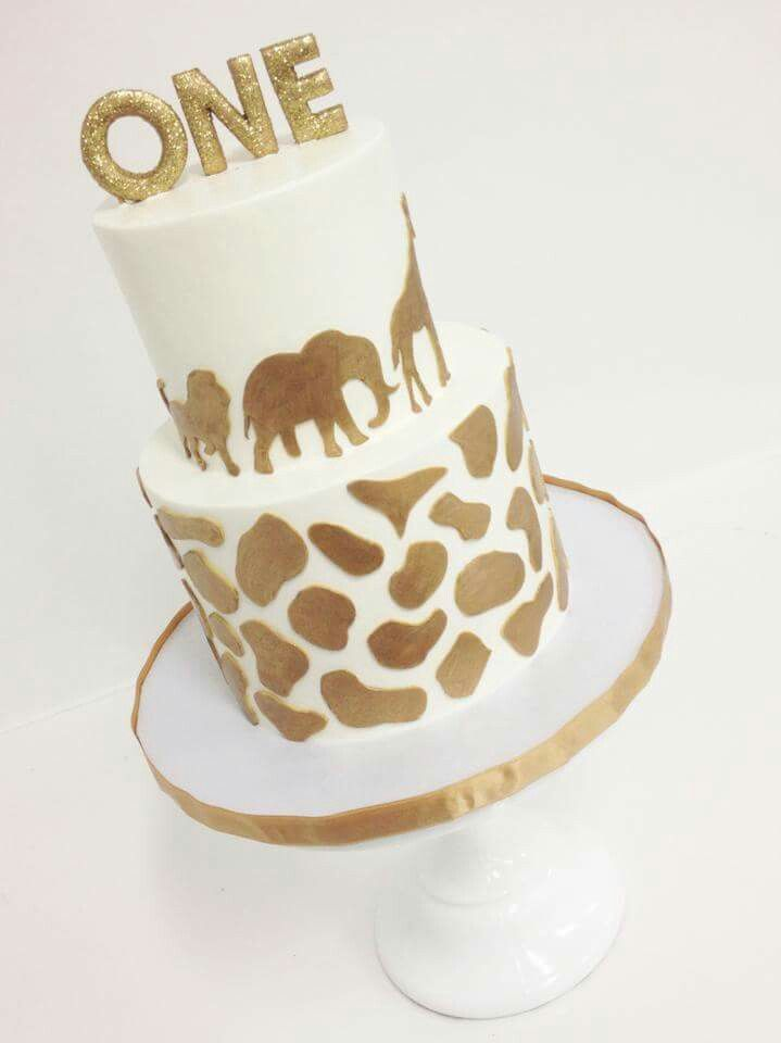 Contemporary gold safari birthday cake