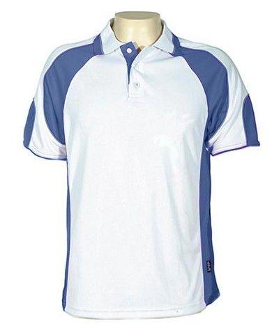 Glenelg Polo/White Royal.309 Glenelg Polo shirt,  Cool dry, breathable, light weight, Mens, Ladies, Kids