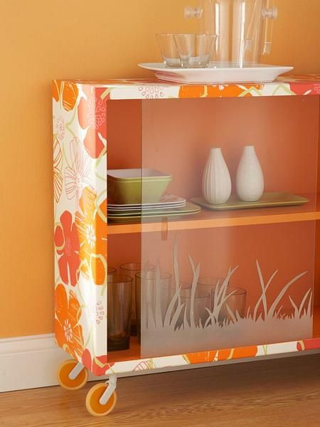 shelves and storage furniture decoration with modern wallpaper