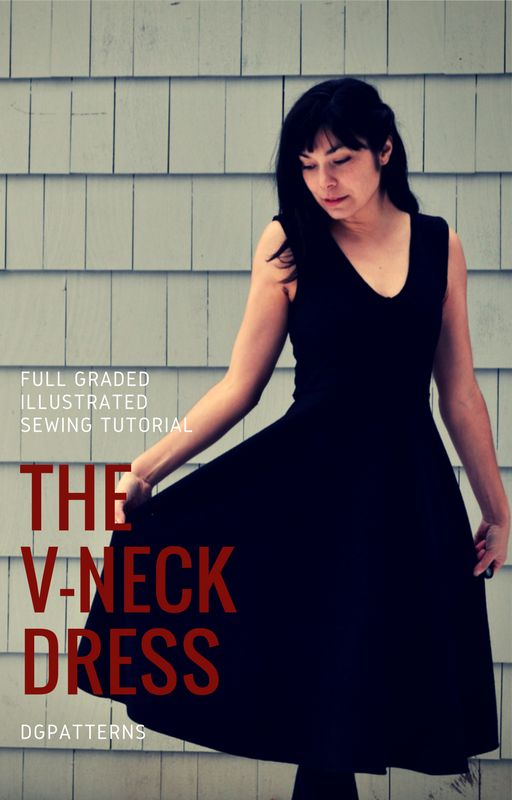 V-neck dress PDF Pattern: Fully printable Sewing Pattern and Sewing Tutorial. Learn how to make an easy dress with a step by step sewing tutorial.