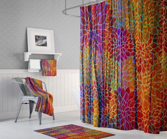 Wavy Boho Shower Curtain Burgundy And Brown Custom Floral
