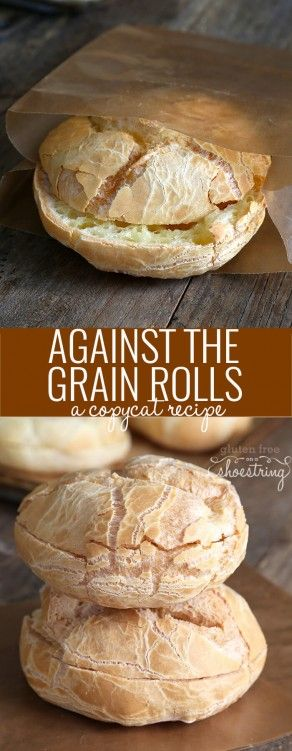 Get this copycat recipe for the original recipe Against the Grain-style gluten free rolls. Stop paying too much for packaged gluten free bread! http://glutenfreeonashoestring.com/gluten-free-bread-recipe-against-the-grain/
