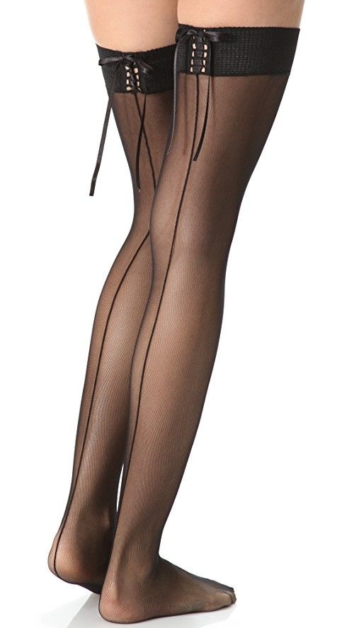 Falke Corsage Stay Up Tights | These sheer thigh-high mesh tights feature lace-up detail at textured elastic top. Shell: 100% polyamide. Trim: 80% polyamide/20% elastane. Hand wash. Made in Italy.
