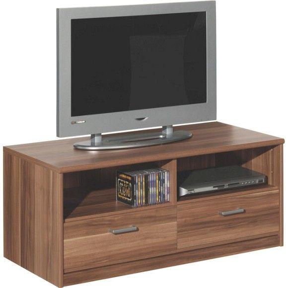 """Mit diesem TV-Board aus der Serie """"Soft"""" schauen Sie nicht nur gerne auf den Bildschirm, sondern auch auf das Phonomöbel darunter: Die Kombination aus moderner Nussbaum-Nachbildung und silbernen Bügelgriffen ist ein echter Blickfang. 2 Schubladen und 2 Fächer bieten genügend Stauraum für Ihren DVD-Player, Ihre Filme und Musik. Mit diesem TV-Element (B x H x T: ca. 106 x 46 x 52 cm) steht Ihr Fernseher auf einer angenehmen Höhe. Dank seiner Maße ist das Board auch für größere Fernseher…"""