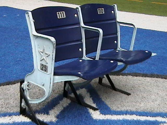 Dallas Cowboys Chairs Sale Desk Chair Loveland Texas Stadium Seats With Star Log End Memorabilia