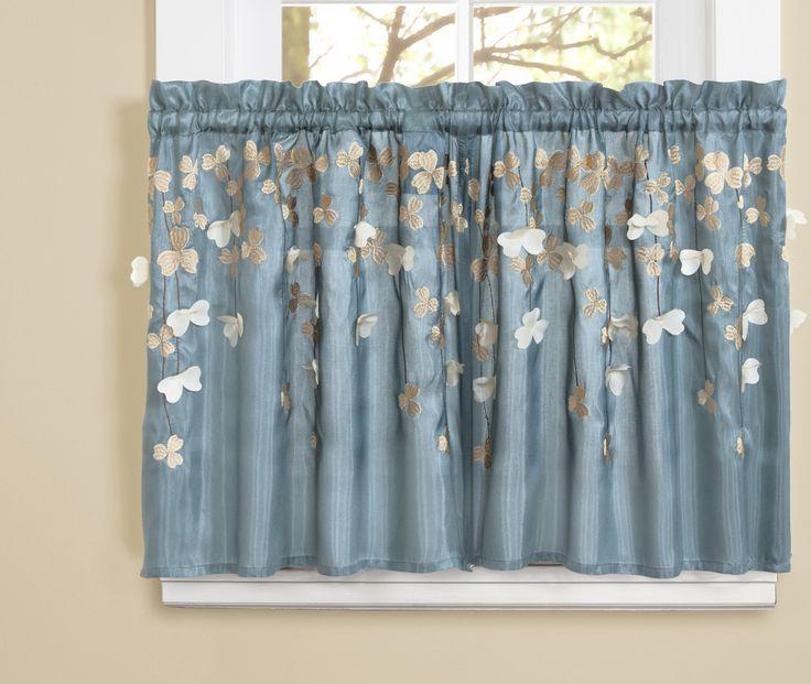 Lush Decor Flower Kitchen Light Filtering Tier Curtain Size H X W Color Blue