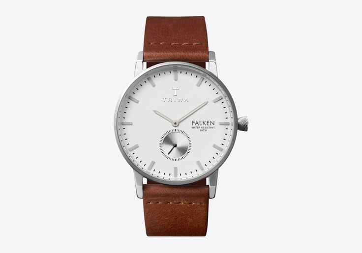 Hodinky Triwa – Ivory Falken – pouzdro ocelové barvy, hnědý náramek – dámské a pánské, elegantní náramkové  #triwa #falken #watches #women #men #steel #case #leather #strap #white #brown