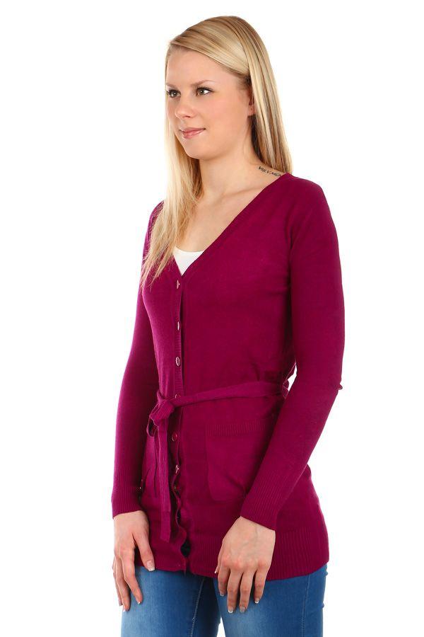 Delší dámský propínací svetr s páskem - koupit online na Glara.cz  glara   ecc0b1577d