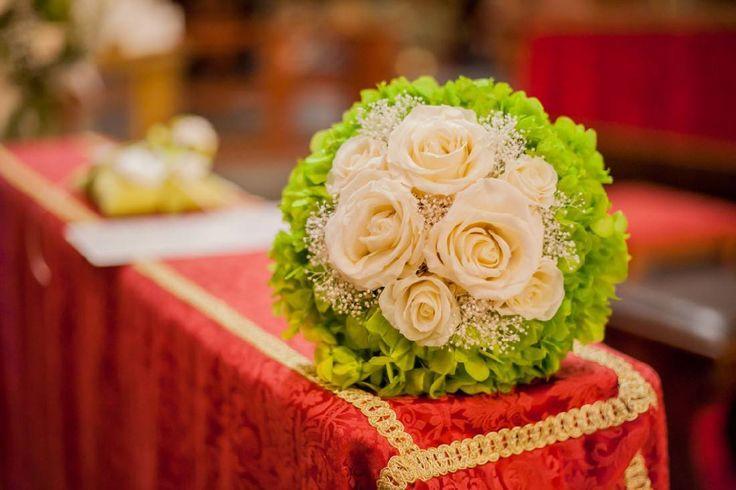 bouquet romantico-shabby-elegante cipria e verde