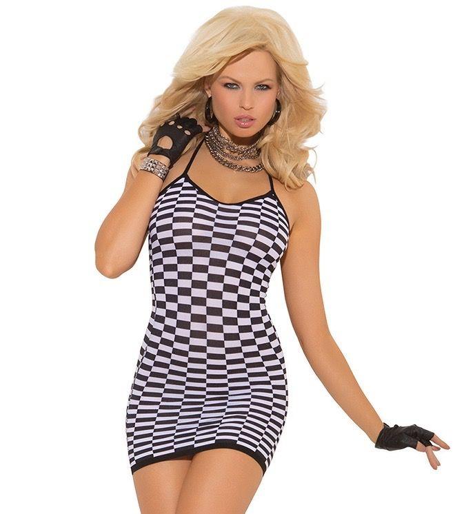 Slip Style Checkered Mini Dress Clubdress Clubwear
