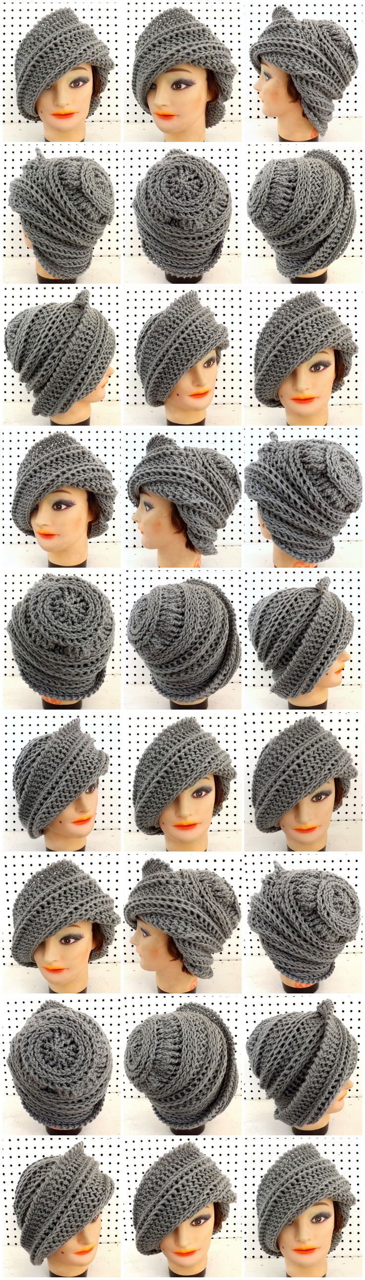 JUDY Crochet Wide Brim Beanie Hat in Dark Gray