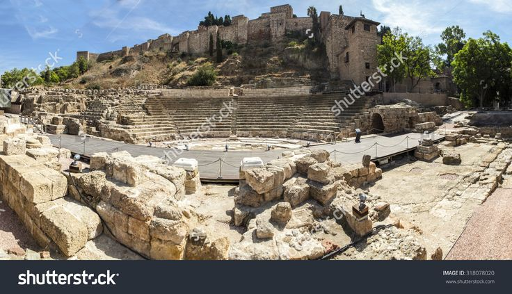 Famous Ancient Roman Amphitheatre Ruins At Malaga Old Town, Spain. Panoramic Shot Stock Photo 318078020 : Shutterstock