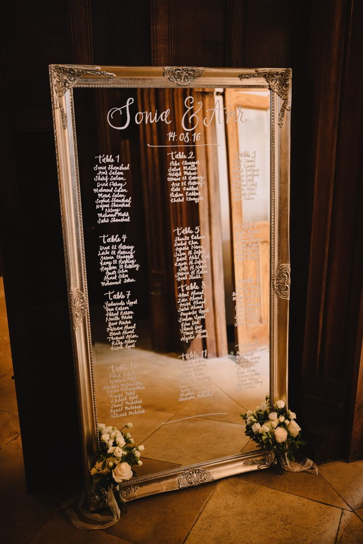 Mirror Table Plan by The Little Lending Company - Modern Vintage Weddings Photography | Photography by Bea | WE ARE // THE CLARKES Films | Katrina Otter Weddings | Multicultural Wedding at Hengrave Hall Suffolk