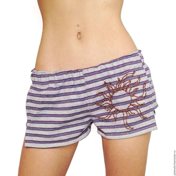 Women's short beach shorts Italian knitwear decorated by